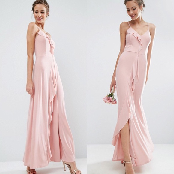big selection drop shipping special promotion ASOS dusty rose pink maxi ruffle dress 4